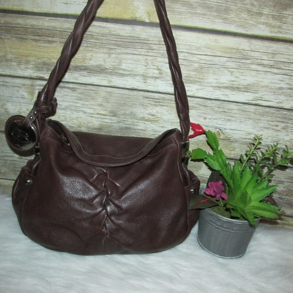 b. makowsky Bags   B Makowsky Brown Leather Front Pleated Purse ... 25c3dc9916